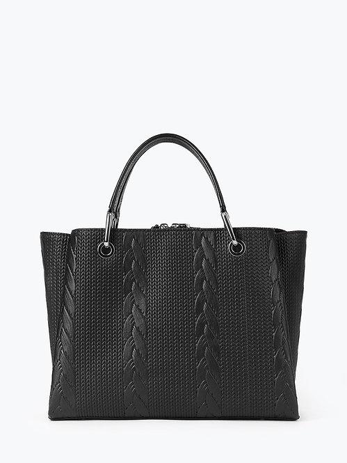 Черная сумка-тоут из кожи с имитацией плетения с тремя отделами KELLEN