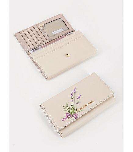 Пастельно-бежевый кожаный бумажник с принтом лаванды на кнопке Alessandro Beato