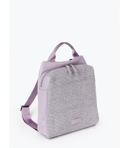 Рюкзак из лавандовой кожи и плетеной соломки рафии KELLEN