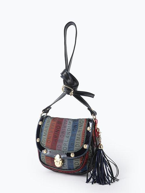Разноцветная текстильная сумка кросс-боди в силуэте сэдл Marino Orlandi