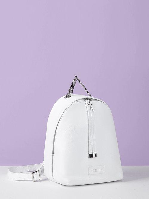 Небольшой кожаный рюкзак белого цвета с ручкой-цепочкой KELLEN