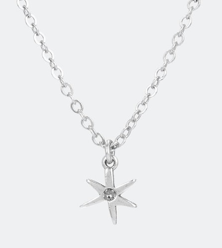 Серебряный кулон в виде звезды с регулируемой цепочкой