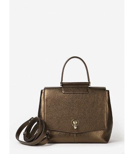 Кожаная сумка на одной ручке в форме кристалла из бронзовой кожи KELLEN