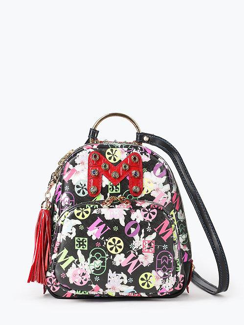 Небольшой рюкзак из черной сафьяновой кожи с цветочным принтом Marino Orlandi