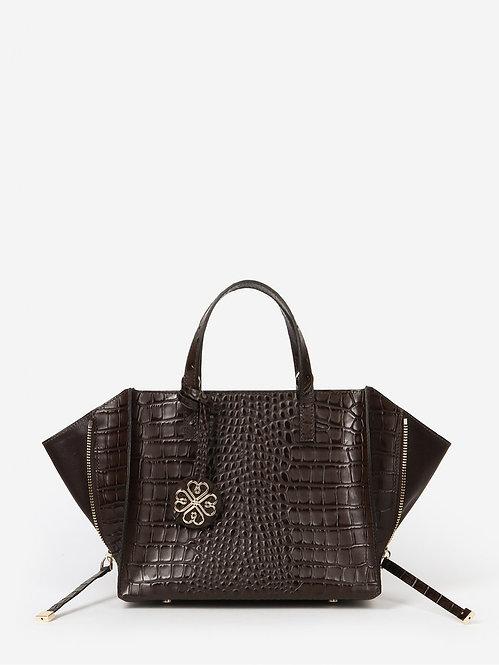 Темно-коричневая сумка-трансформер из кожи под крокодила KELLEN