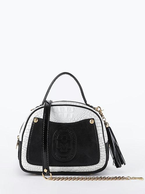Белая сумка-боулер плотной кожи с тиснением под крокодила Marino Orlandi