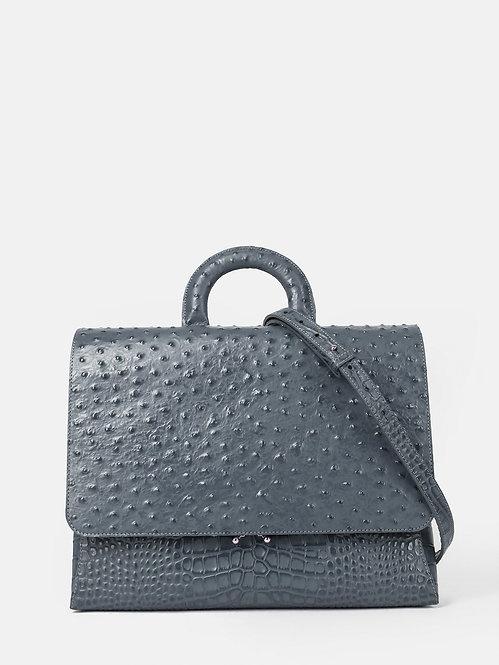 Деловая сумка-портфель из серой кожи под крокодила и страуса KELLEN