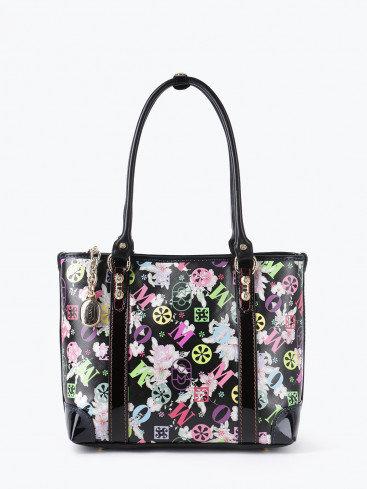 Черная сумка-тоут из кожи с цветочным принтом Marino Orlandi