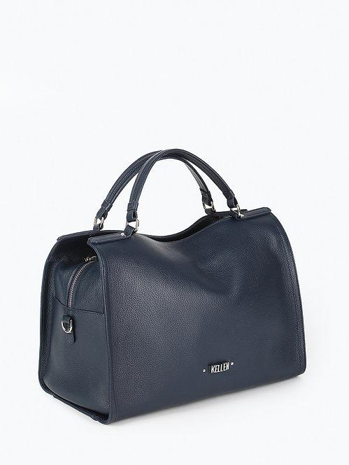 Синяя сумка-тоут из мягкой кожи KELLEN