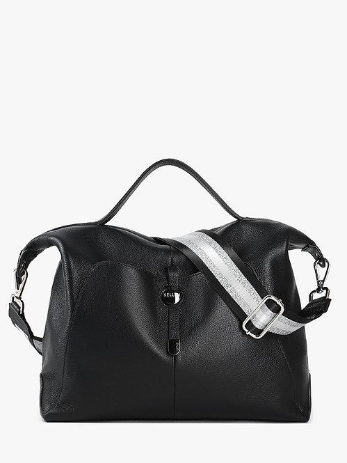 Вместительная мягкая сумка из черной кожи  KELLEN