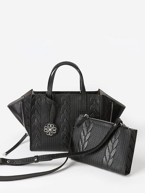 Черная сумка-трансформер из кожи с имитацией вязки KELLEN