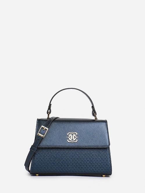 Синяя сумка-сэтчел из металлизированной кожи и тиснением Ripani