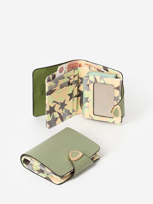 Небольшой кошелек из светло-зеленой кожи под рептилию Alessandro Beato