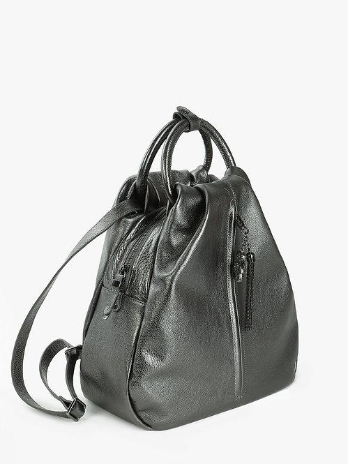 Рюкзак-капля из мягкой металлизированной кожи цвета антрацит KELLEN