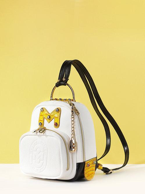 Маленький рюкзак из белой кожи со стразами Marino Orlandi