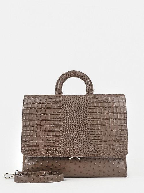 Деловая сумка-потрфель из кожи под страуса и крокодила в оттенке капучино KELLEN