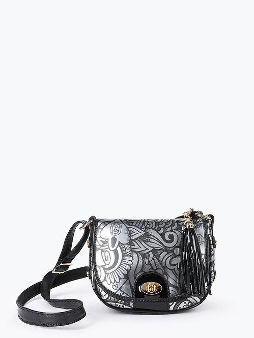 Черная сумочка из плотной кожи с серебристым принтом Marino Orlandi