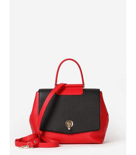 Кожаная сумка в форме кристалла из красной кожи с черным клапаном KELLEN