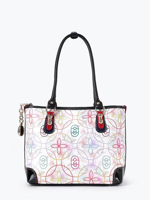 Белая сумка из сафьяновой кожи с цветочным принтом Marino Orlandi