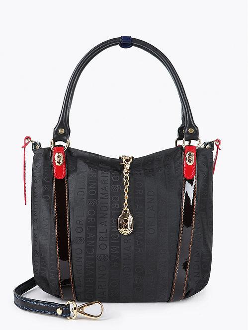 Черная сумка на плечо из брендового текстиля Marino Orlandi