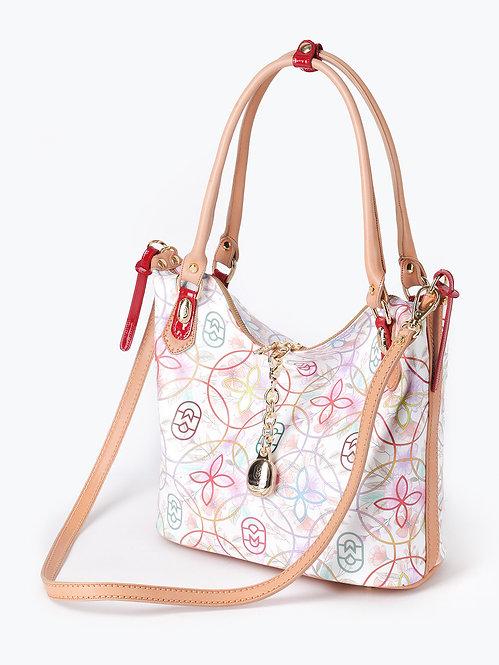 Белая сумка-тоут из мягкой кожи и цветочным принтом Marino Orlandi