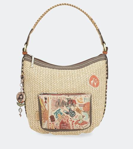 Хобо с карманами и плетеной ручкой Anekke Kenya