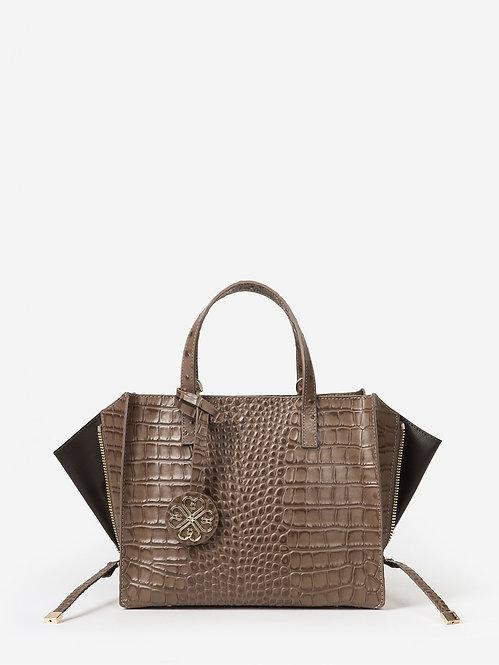 Бежево-коричневая сумка-трансформер из кожи под крокодила KELLEN