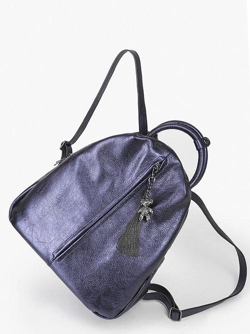 Синий рюкзак-капля из мягкой металлизированной кожи KELLEN
