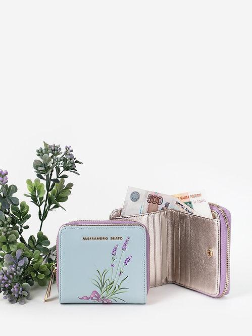 Небольшой пастельно-голубой кожаный кошелек на молнии с принтом Alessandro Beato