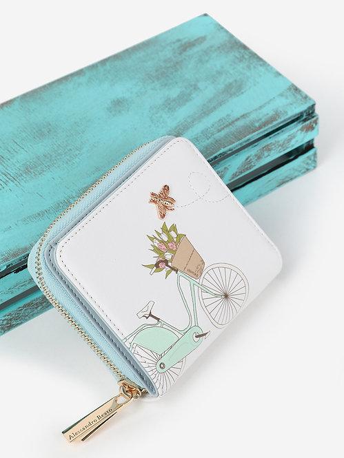 Небольшой кошелек на молнии из белой кожи с принтом Alessandro Beato