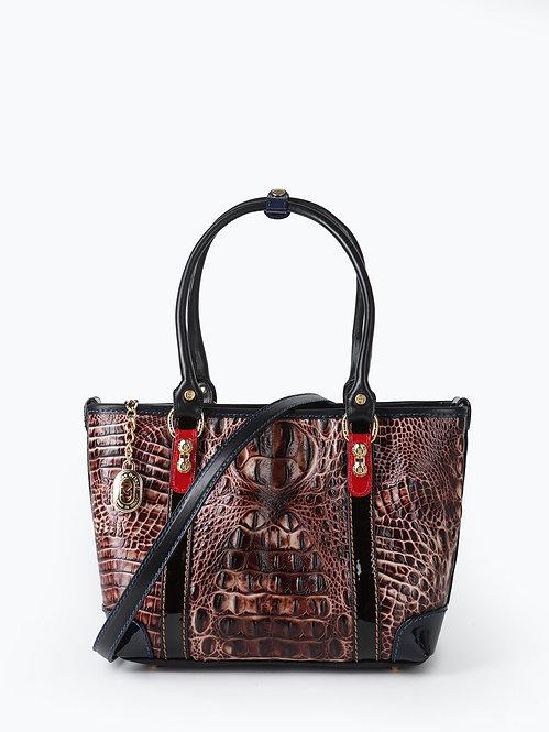 Коричневая сумка-тоут - трапеция из плотной кожи под крокодила Marino Orlandi