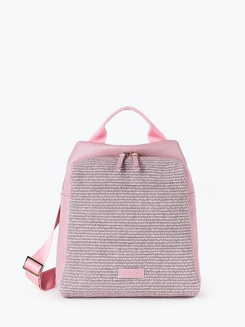 Рюкзак из розовой кожи и плетеной соломки рафии KELLEN