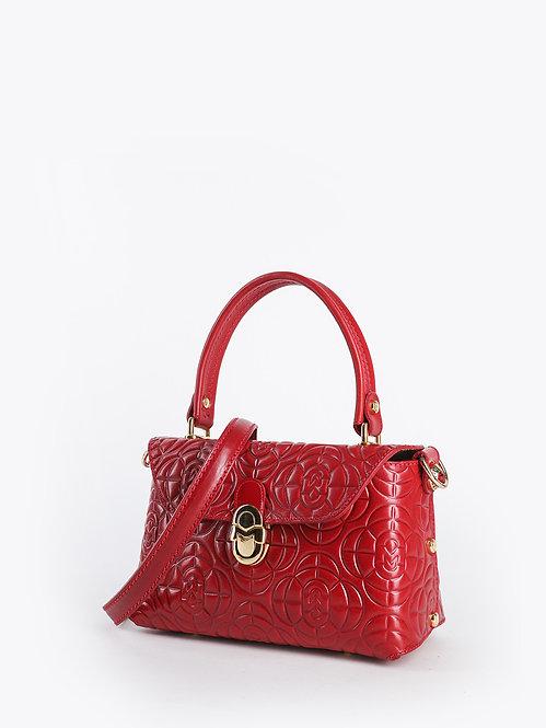Небольшая красная сумочка-флап из кожи с брендовым тиснением Marino Orlandi