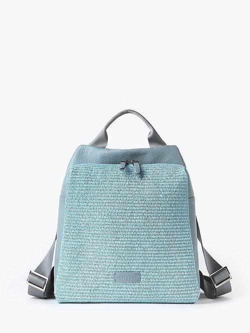 Рюкзак из голубой кожи и плетеной соломки рафии KELLEN