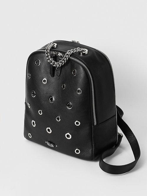 Черный повседневный рюкзак из зернистой кожи с люверсами KELLEN