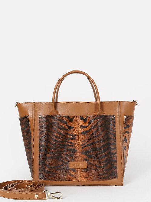 Сумка-трапеция формата А4 из коньячной кожи с тигровым притом KELLEN