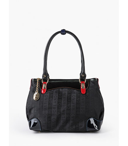 Черная текстильная сумка-тоут с ручками на плечо Marino Orlandi
