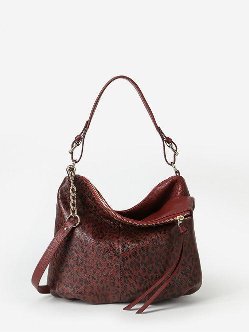 Терракотовая сумка-хобо из мягкой мягкой кожи с леопардовым принтом KELLEN