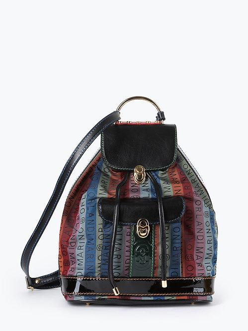 Разноцветный рюкзак из текстиля и кожи с логотипами Marino Orlandi
