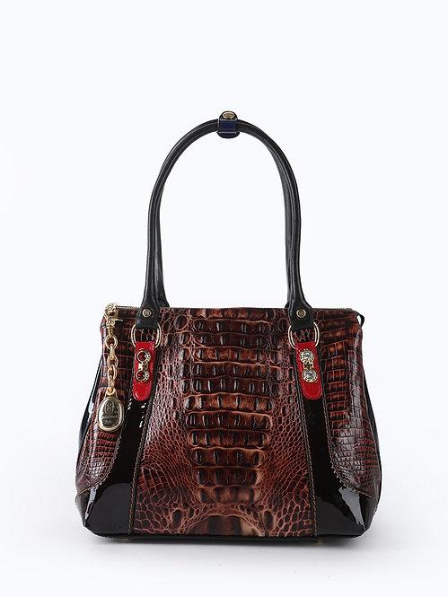 Коричневая сумка-тоут из кожи под крокодила  Marino Orlandi
