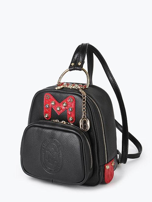 Небольшой рюкзак из черной кожи со стразами Marino Orlandi