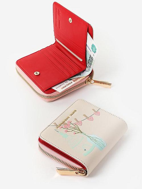 Небольшой кошелек на молнии из пастельно-бежевой кожи с принтом Alessandro Beato