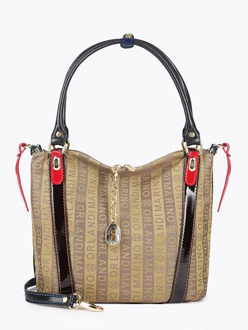 Бежевая сумка на плечо из брендового текстиля Marino Orlandi