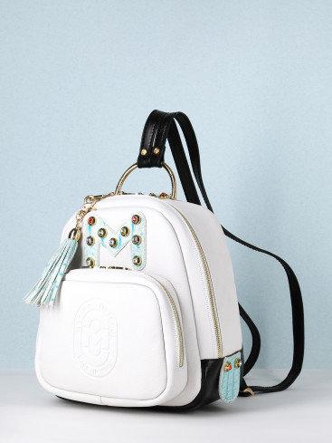 Небольшой рюкзак из белой кожи Marino Orlandi