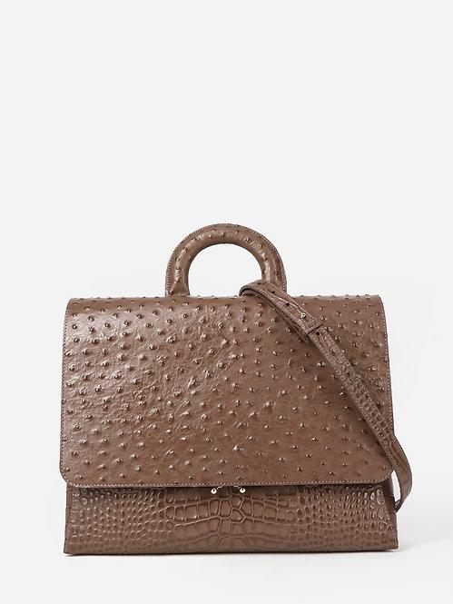 Деловая сумка-портфель из кожи под крокодила и страуса оттенка капучино KELLEN