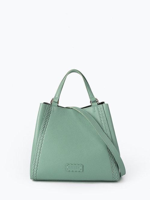 Дымчато-зеленый шоппер-трансформер из мягкой кожи KELLEN