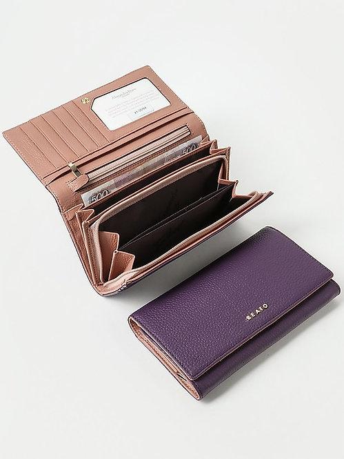Бумажник из фиолетовой и пудровой кожи Alessandro Beato