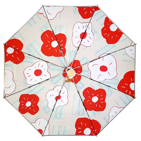 """Зонт со светоотражающим кантом """"Красные и белые цветы"""""""