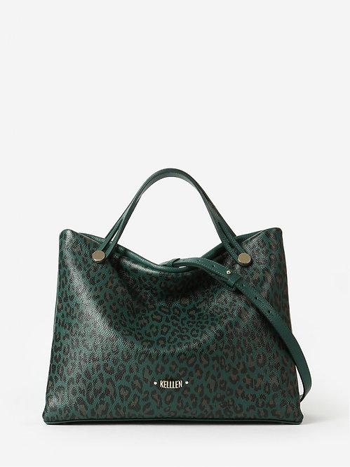 Зеленая сумка-тоут из мягкой кожи с леопардовым принтом KELLEN