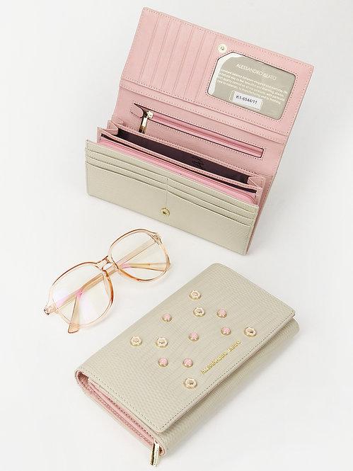 Бумажник из кремовой кожи  с искусственным жемчугом Alessandro Beato